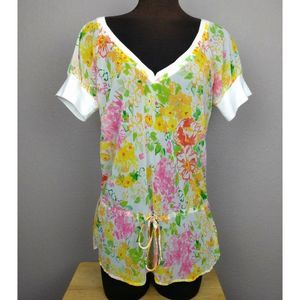 Tommy sheer floral drawstring waist top XL